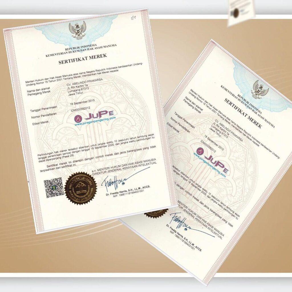 sertifikat brand jupe